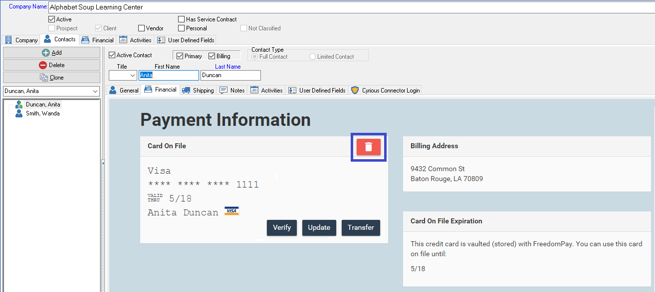 Delete an Existing Credit Card or ACH